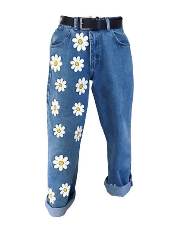 Casual Floral Print Loose Long Denim Pants Jeans