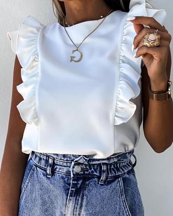 Ruffles Ruched Short Sleeve Casual Top Shirt