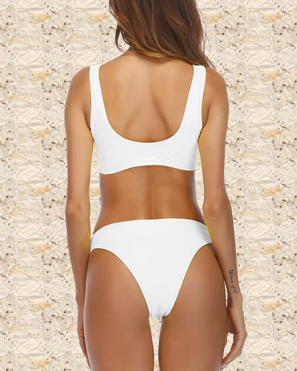 Zipper Two Piece Bikini Swimsuit