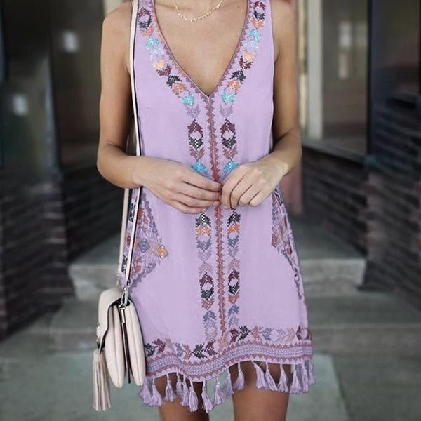 Bohemian V Neck Tassel Dresses