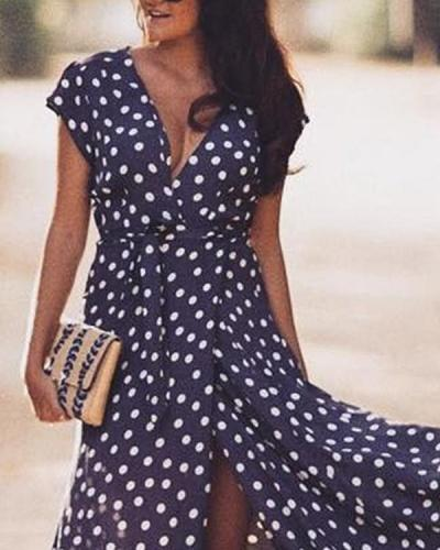 Casual Color Block V-Neckline Maxi X-line Dress