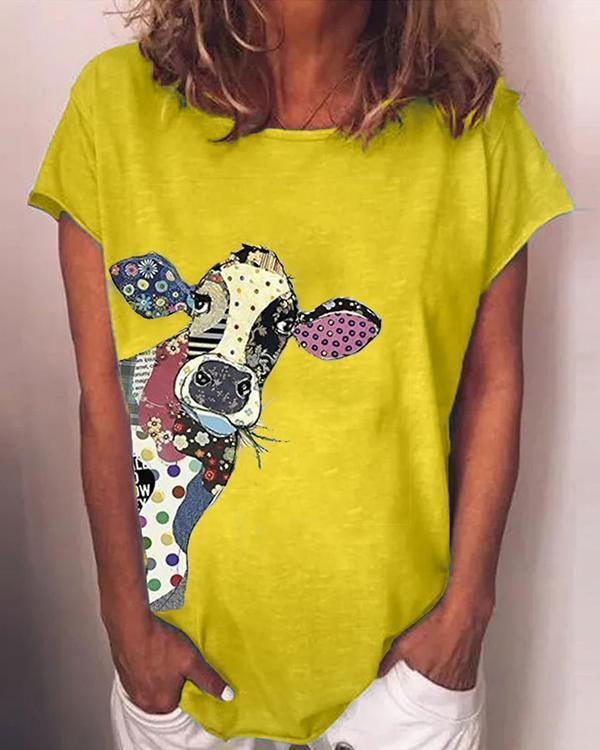 Plus Size Animal Crew Neck Vintage Shirts