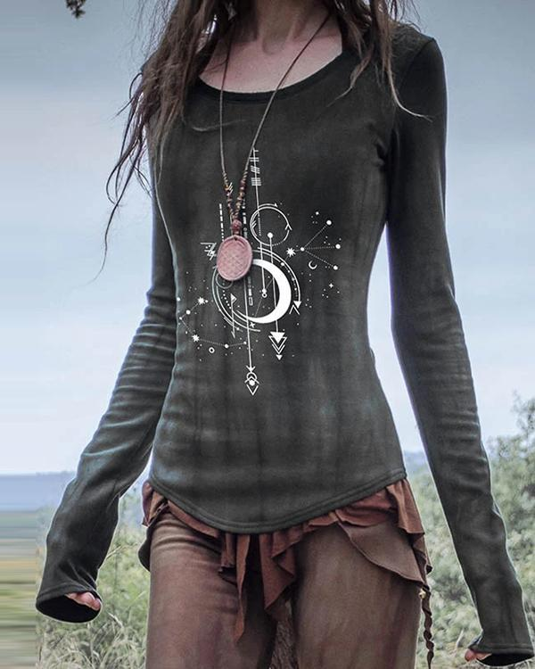 Women's Casual Irregular Printed Long Sleeve Top