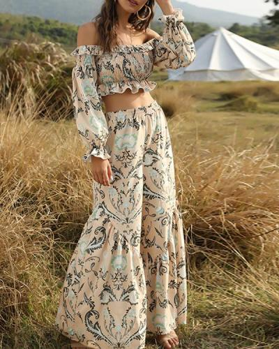 Bohemian Print Off Shoulder Two Piece Trouser Suit
