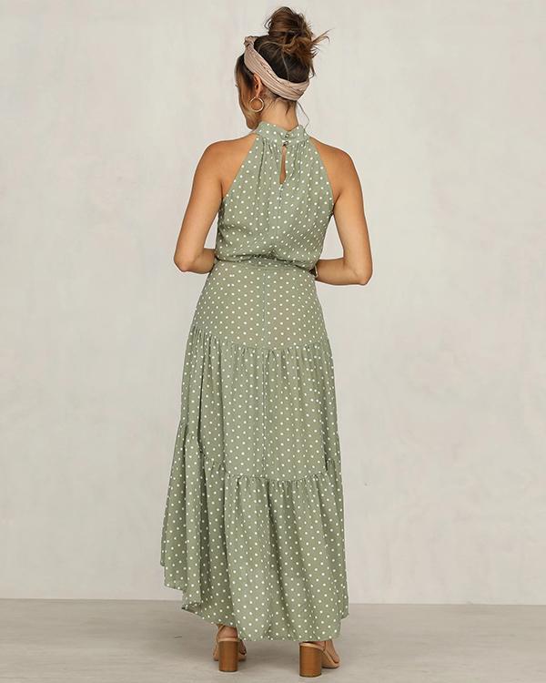 Polka Dot Sleeveless Boho Maxi Dress