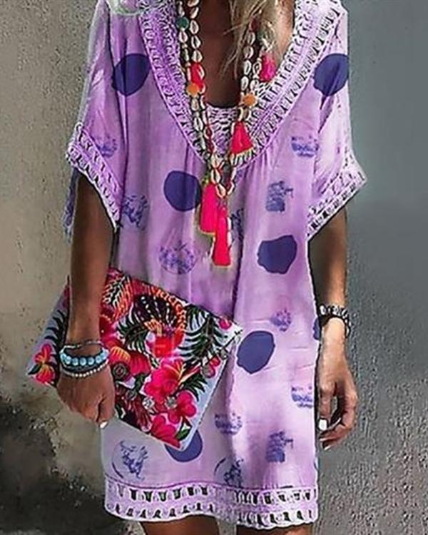 Bohemian V Neck Hollow Printed Mini Dresses