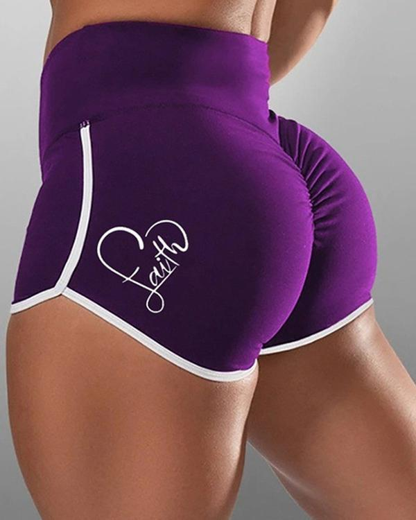 Heart Print Contrast Binding Yoga Shorts