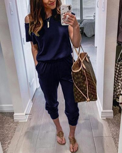 Short Sleeves Pockets Jumpsuit