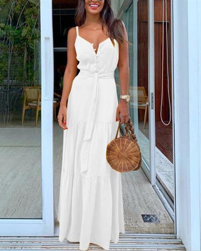 Women Summer Button V-neck Stitching Dress