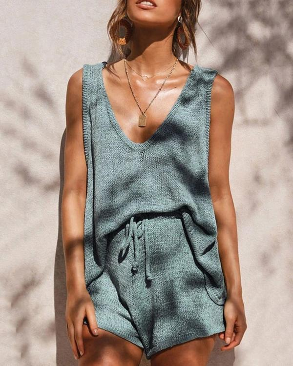 Casual Cotton-Blend Knitted Pyjama Set Tank&Shorts