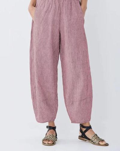 Fashion Plus Size Striped Stitching Pockets Pants
