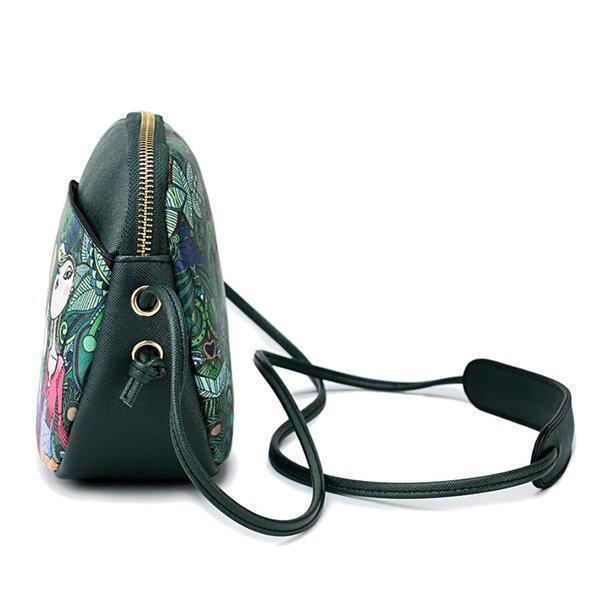 Women Forest Print Shell Crossbody Bag PU Leather Shoulder Bag