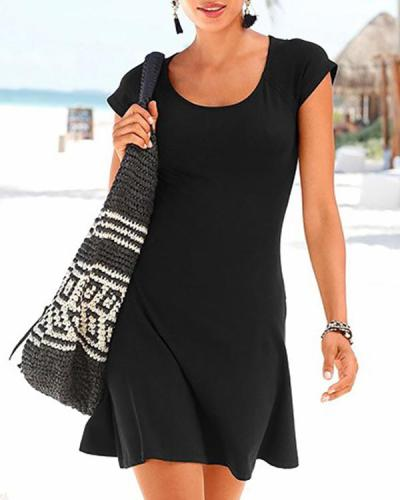 Round Neck Stitching Lace Casual Beach Dress