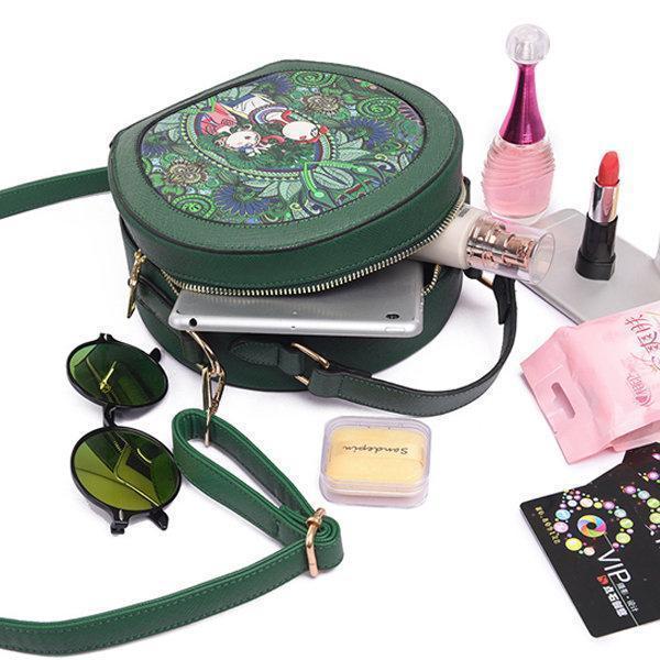 PU Leather Green Crossbody Bag Forest Series Bucket Bag