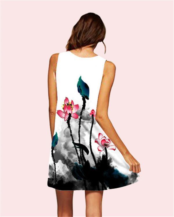Lotus Printed Sleeveless Beach Dress