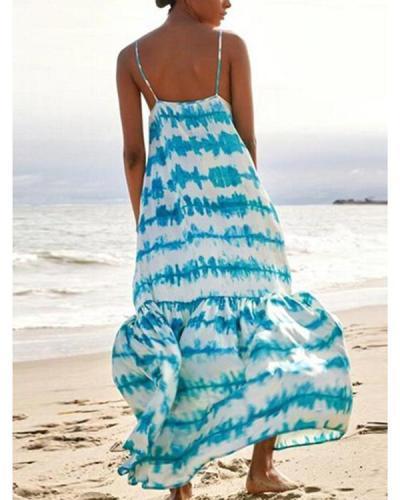 Women's Fashion Printed Sleeveless Gradient Plus Size Dress