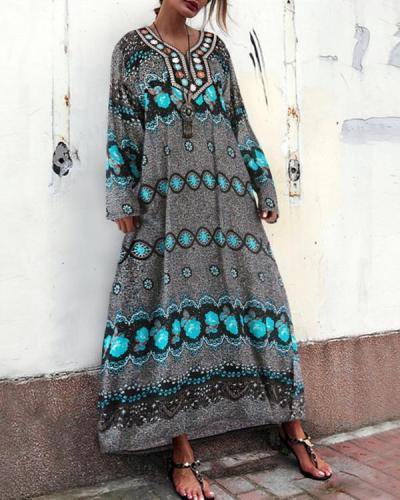 Comfortable V Collar Printed Embroidery Decorated Vacation Dress