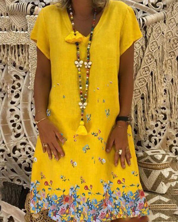 Floral Printed Summer Plus Size V Neck Short Sleeve Dress