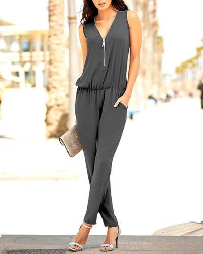 Zipper Drawstring Pockets Sleeveless Jumpsuit