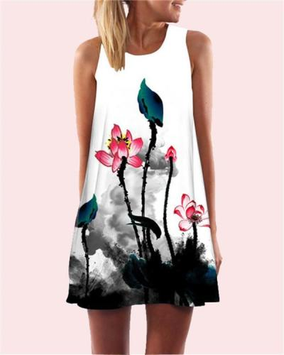 Lotus Printed Sleeveless Beach Dress