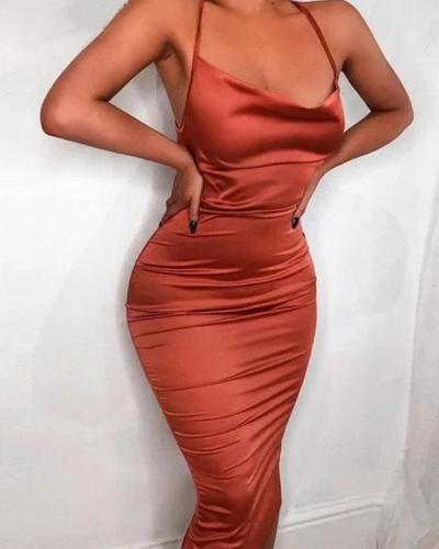 Sleeveless Satin Dress