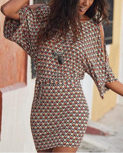 Elegant Cold Shoulder Cutout Sheath Self-tie Mini Dress