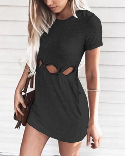 Solid Hollow Out Bodycon Dress