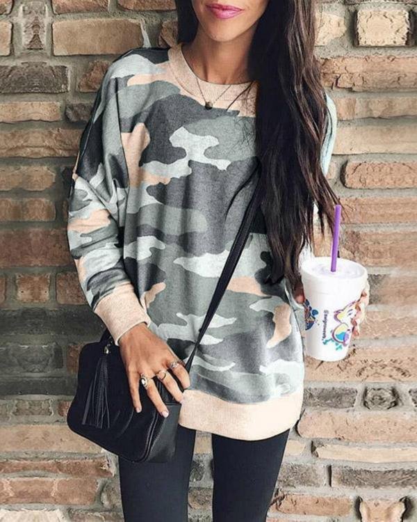 Plus Size Casual Long Sleeves Camouflage Printed Sweatshirt