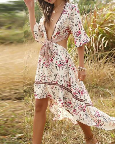 Boho Irregular Deep-V-neck Bandage Vacation Dresses