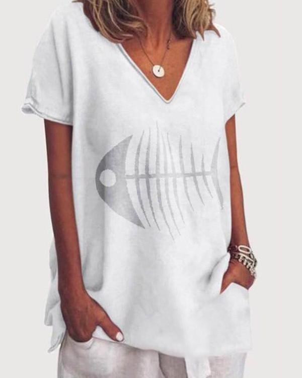 Women Fish Printed  Holiday V Neck Short Sleeve Casual Blouse