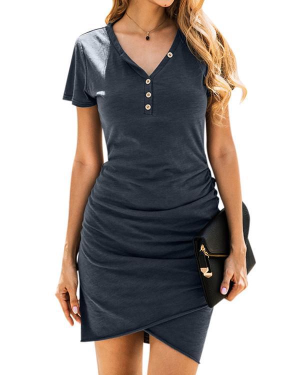 Button Ruffled V-Neck Mini Dress without Necklace - Black