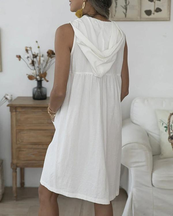 Casual Solid Buttoned Drawstring Hooded Pockets Mini Dress