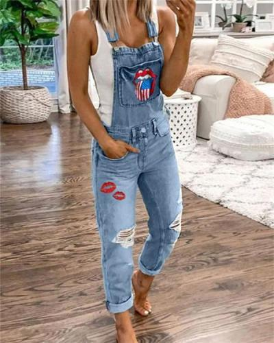 Women's Casual Holiday Ripped Denim Jumpsuit