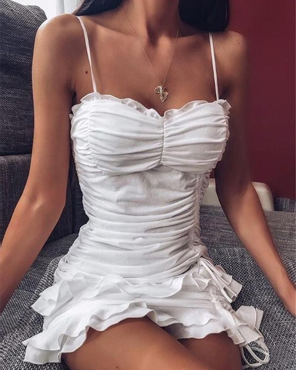Sexy Pleated Lace Tight Strappy Drawstring Women's Dress