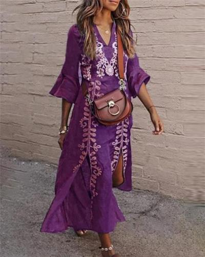 Bohemian V Neck Holiday Dresses Shift Daytime Maxi Dresses