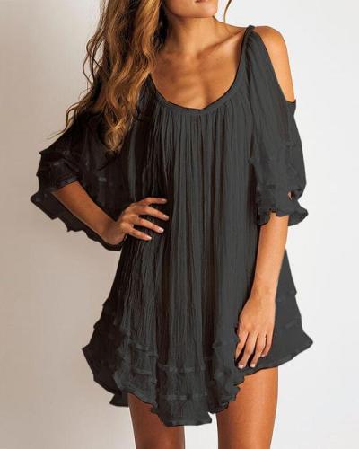 Solid 1/2 Sleeves/Cold Shoulder Sleeve Casual Elegant Blouse Dresses