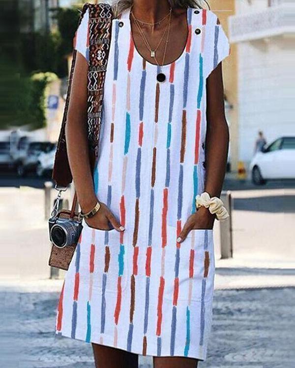 Women Printed U Neck Short Sleeve Dress with Pockets