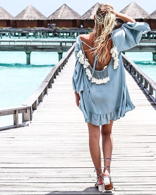 Sexy Open Back Fringe Long Sleeve Loose Beach Dress