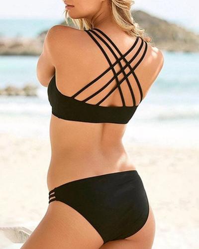 Solid Color Sexy Cross Over Unique Bikini