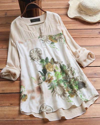 V-neck Random Floral Printed Long Sleeve Plus Size Blouse
