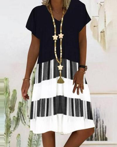 Women Short Sleeve V-neck Striped Stitching Printed Dress