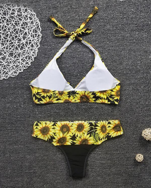 Sexy Sunflower Print High Waist Bikini