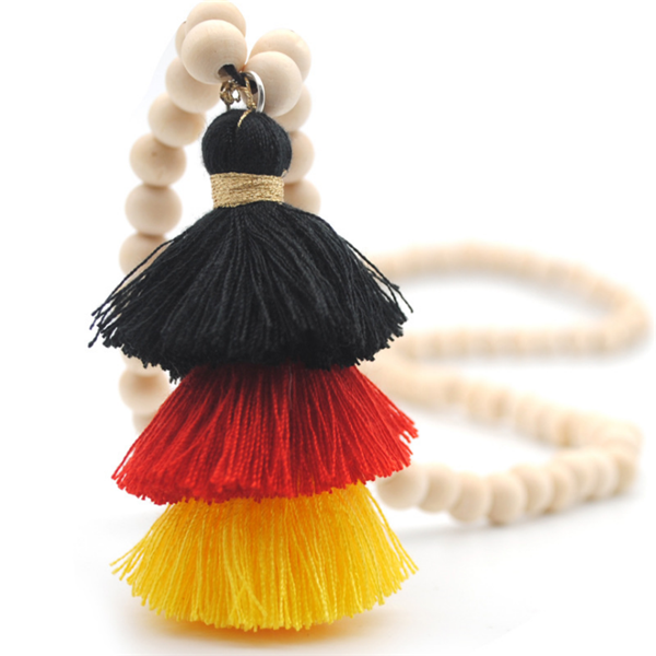 Womens Wood Beads Tassel Long Necklace