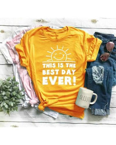 Vintage Short Sleeve Sun Letter Printed Plus Size Casual Tops Shirt