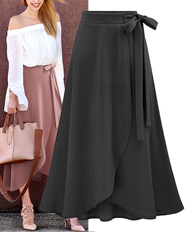 Women Solid Bow tie Belt Split Skirts