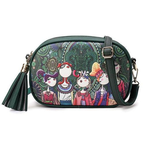 Bohemian Spring Forest Printing PU Crossbody Bag Phone Bag