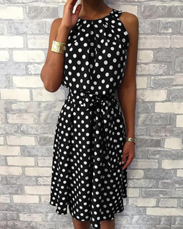 Casual Crew Neck Polka Dot Sleeveless Plus Size Dress