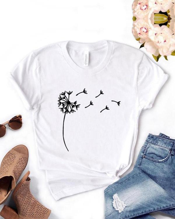 Women Print Crew Neck Casual T-shirts