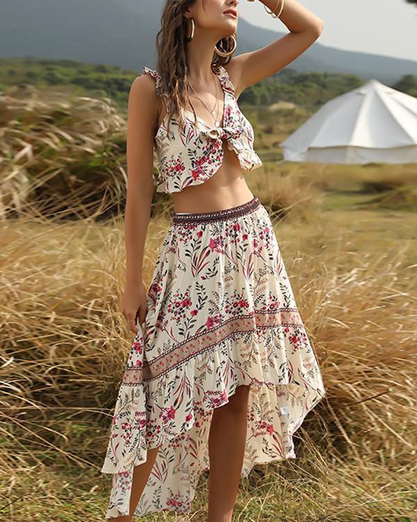 Boho Print Navel Lace Irregular Vacation Suit
