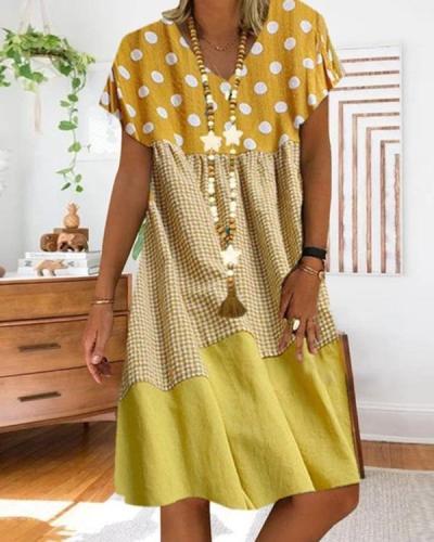 Women Polka Dot Plaid Stitching Short Sleeve V-Neck Dress